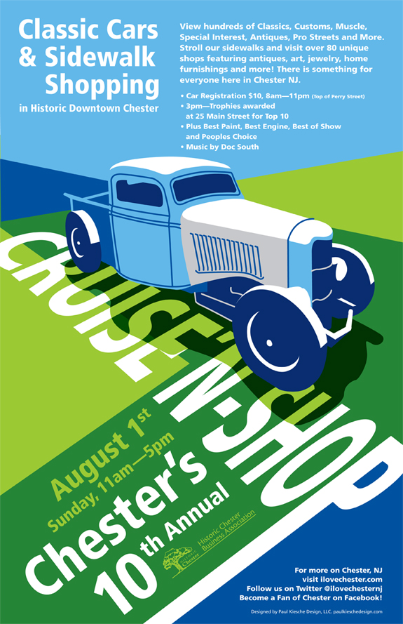 The Chester New Jersey 10th Annual Cruise'N'Shop Car Show poster, designed and illustrated by Paul Kiesche Design
