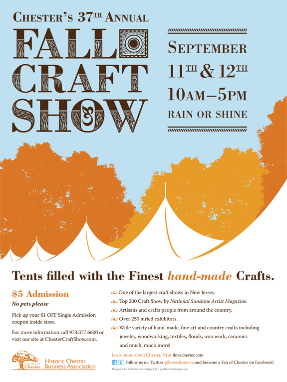 Chester's 37th Annual Fall Craft Show poster illustrated and designed by Paul Kiesche Design, LLC of Long Valley, NJ