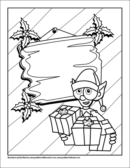 holiday coloring book elf