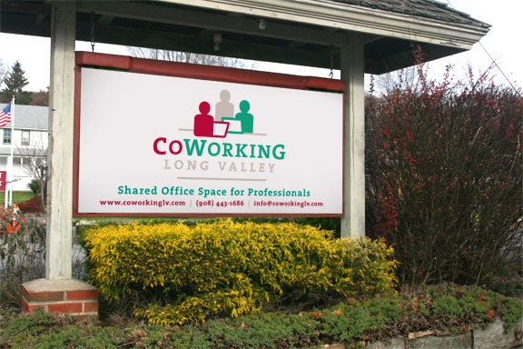 Co-working logo and outdoor sign design