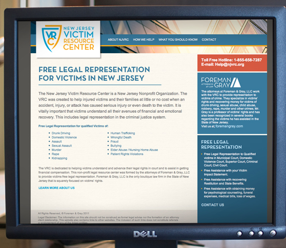 new jersey victim resource center website design
