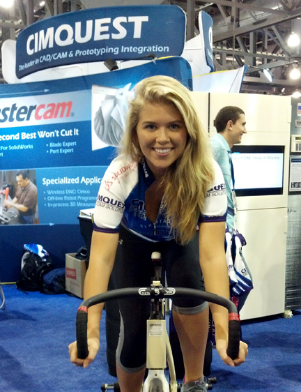 Hot model riding bike at trade show