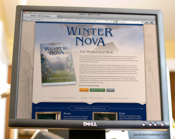 Winter Nova book Micro-Website design
