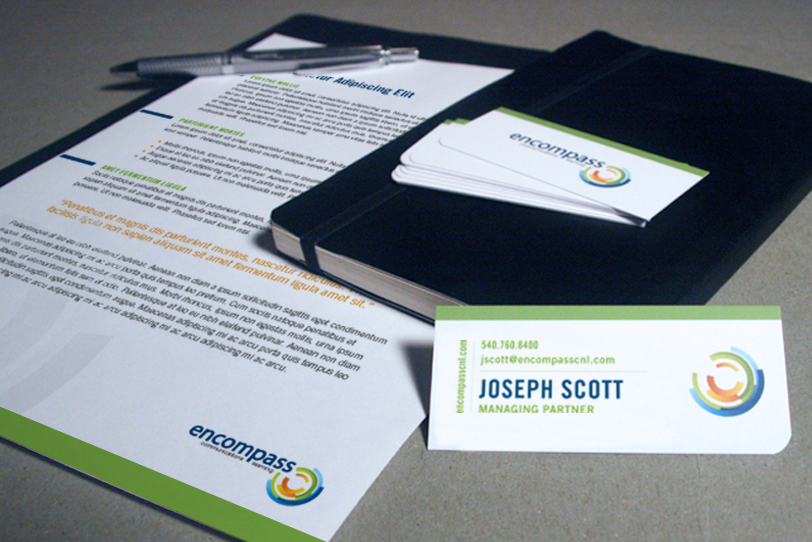 Encompass business card and letterhead design