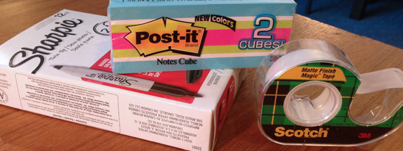 Sharpie Post-it and Scotch tape