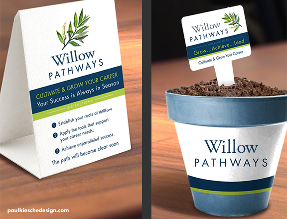Table tent card design and pot design