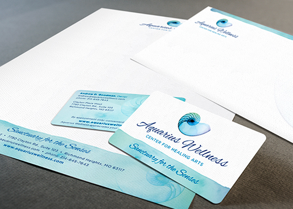 Aquarius Wellness stationery business card letterhead and envelope Design