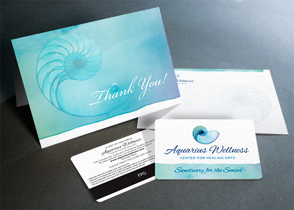 Aquarius Wellness thank you card and envelope Design
