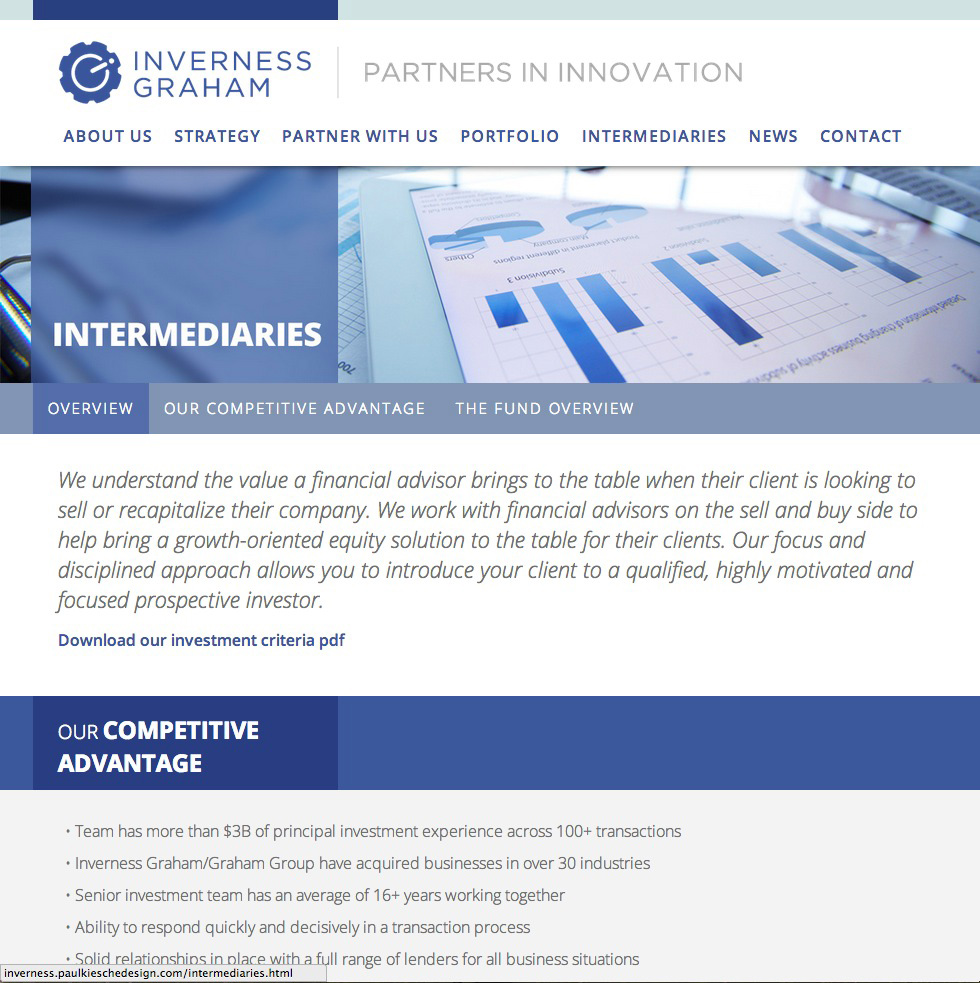 inverness graham intermediaries page website design